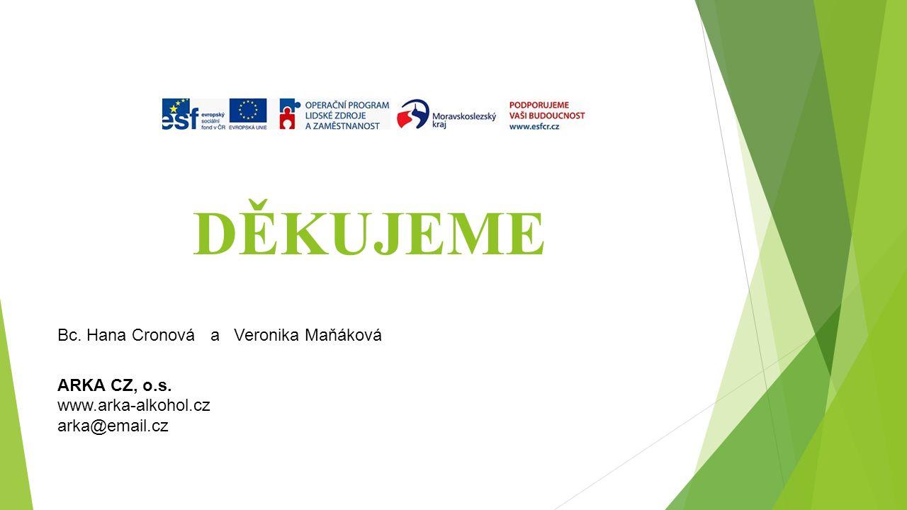 DĚKUJEME Bc. Hana Cronová a Veronika Maňáková ARKA CZ, o.s. www.arka-alkohol.cz arka@email.cz