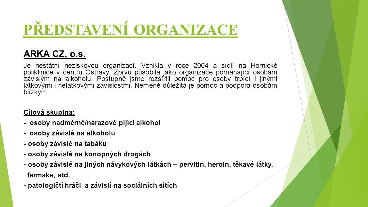 PŘEDSTAVENÍ ORGANIZACE ARKA CZ, o.s. Je nestátní neziskovou organizací. Vznikla v roce 2004 a sídlí na Hornické poliklinice v centru Ostravy. Zprvu pů
