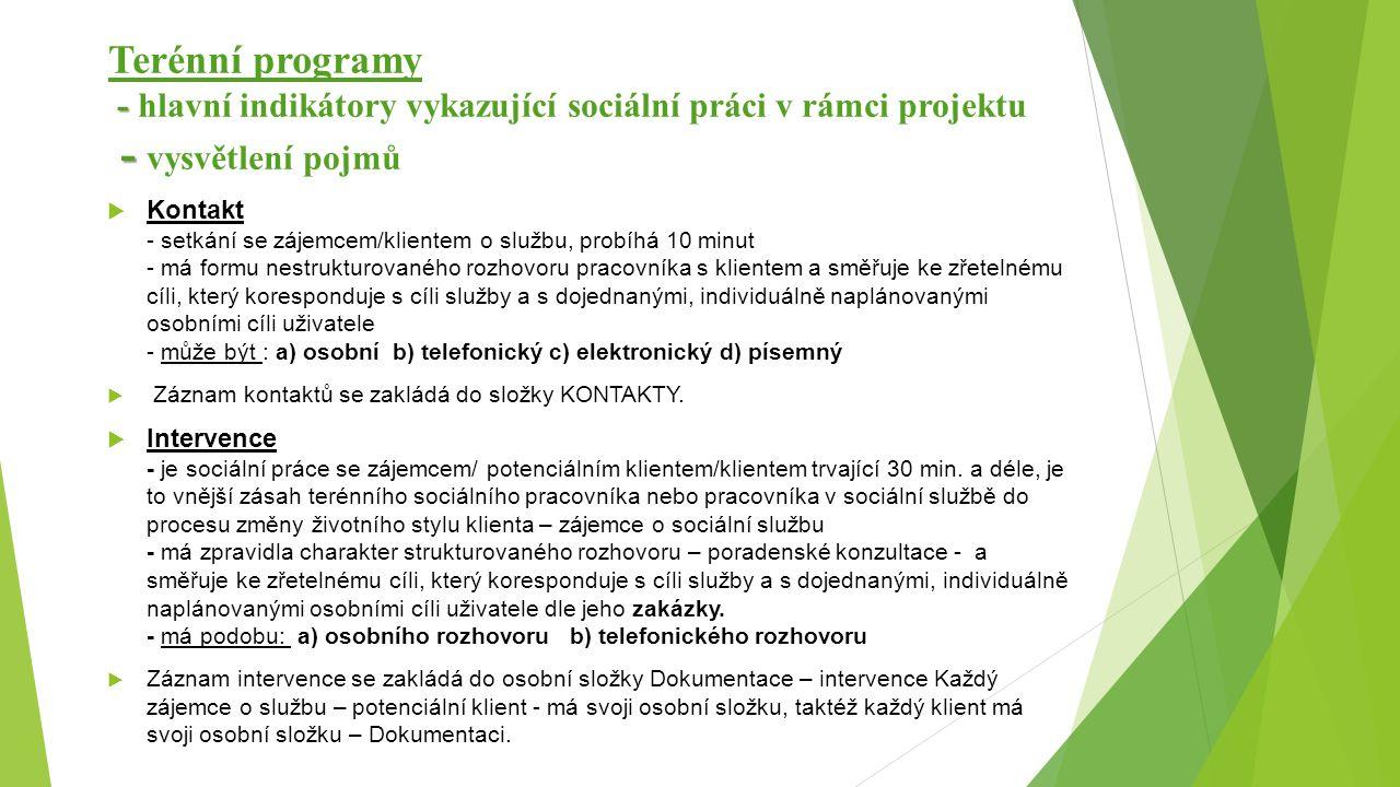 - - Terénní programy - hlavní indikátory vykazující sociální práci v rámci projektu - vysvětlení pojmů  Kontakt - setkání se zájemcem/klientem o služ