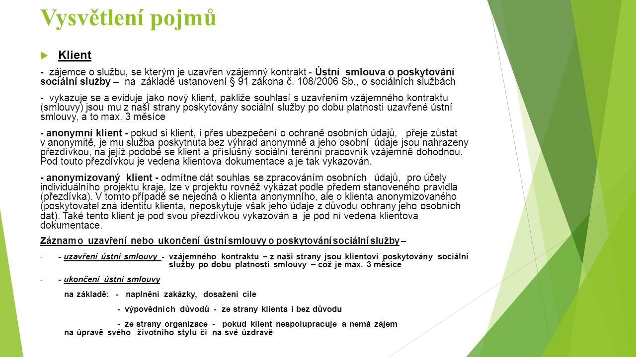 Vysvětlení pojmů  Klient - zájemce o službu, se kterým je uzavřen vzájemný kontrakt - Ústní smlouva o poskytování sociální služby – na základě ustanovení § 91 zákona č.