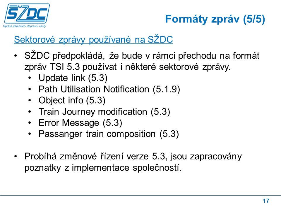 17 Sektorové zprávy používané na SŽDC SŽDC předpokládá, že bude v rámci přechodu na formát zpráv TSI 5.3 používat i některé sektorové zprávy.