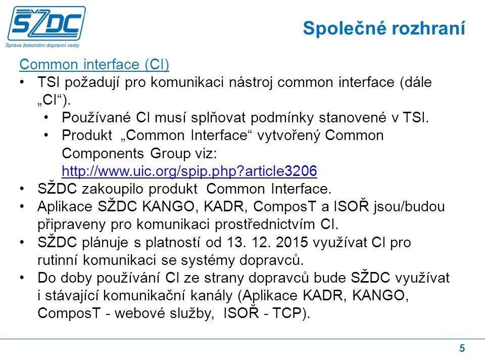 16 Formáty zpráv TSI používaných na SŽDC – popis situace Již nyní jsou v datové komunikaci se systémy SŽDC používány zprávy TSI (KADR, ComposT, APORT).