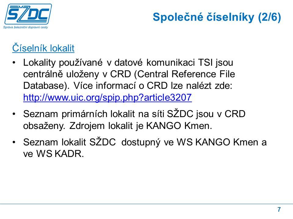 7 Číselník lokalit Lokality používané v datové komunikaci TSI jsou centrálně uloženy v CRD (Central Reference File Database).