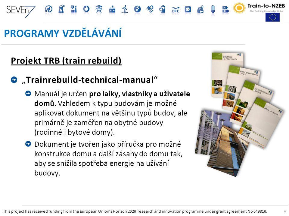 """5 PROGRAMY VZDĚLÁVÁNÍ Projekt TRB (train rebuild) """"Trainrebuild-technical-manual Manuál je určen pro laiky, vlastníky a uživatele domů."""