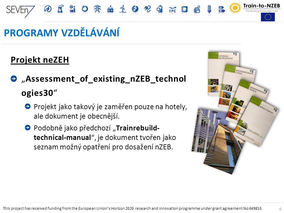 """6 PROGRAMY VZDĚLÁVÁNÍ Projekt neZEH """"Assessment_of_existing_nZEB_technol ogies30 Projekt jako takový je zaměřen pouze na hotely, ale dokument je obecnější."""