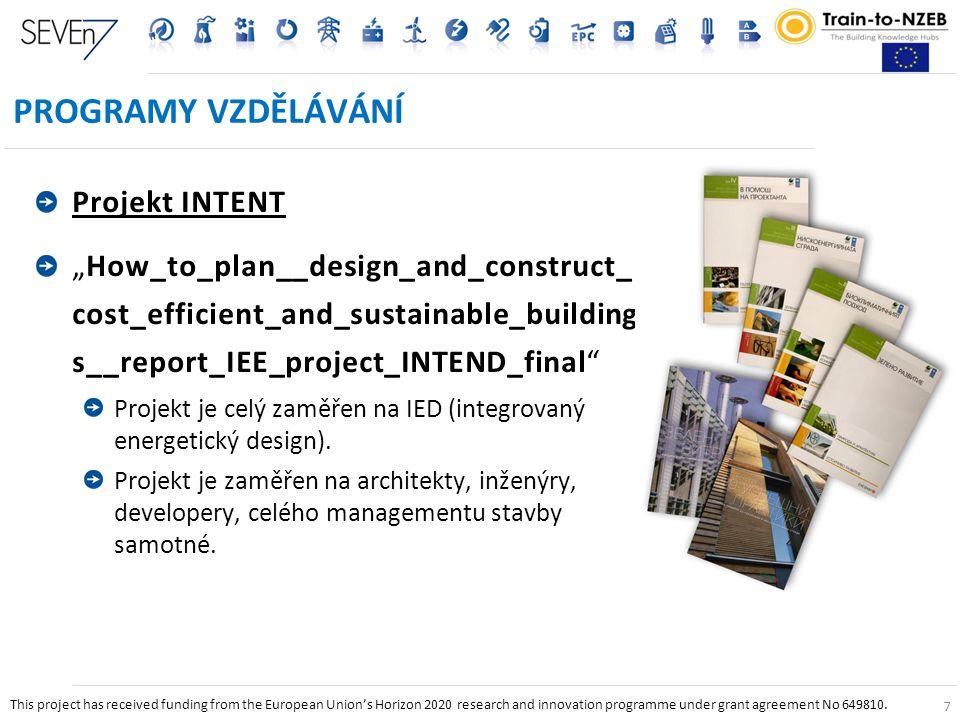 """7 PROGRAMY VZDĚLÁVÁNÍ Projekt INTENT """"How_to_plan__design_and_construct_ cost_efficient_and_sustainable_building s__report_IEE_project_INTEND_final Projekt je celý zaměřen na IED (integrovaný energetický design)."""