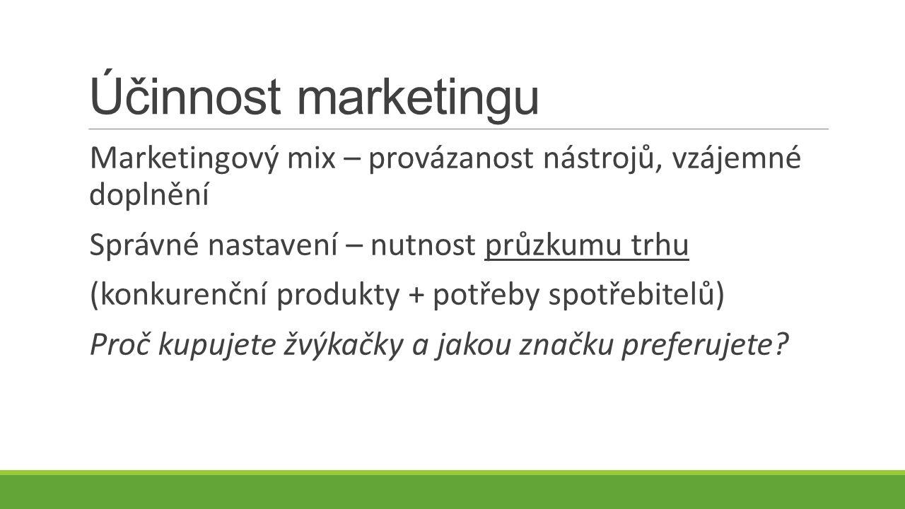 Účinnost marketingu Marketingový mix – provázanost nástrojů, vzájemné doplnění Správné nastavení – nutnost průzkumu trhu (konkurenční produkty + potřeby spotřebitelů) Proč kupujete žvýkačky a jakou značku preferujete