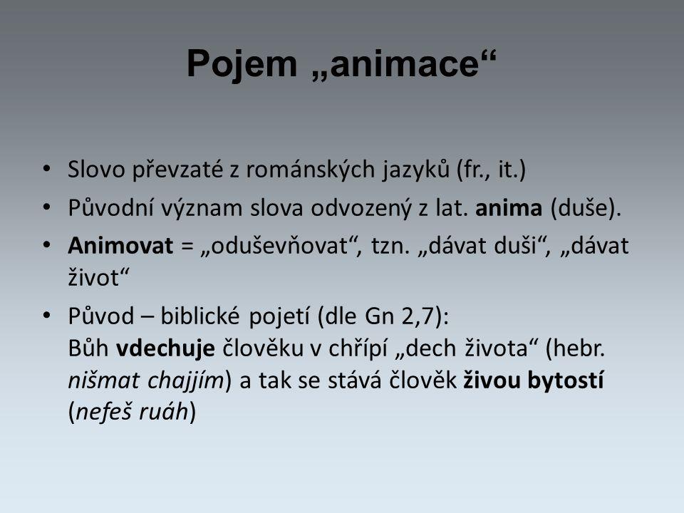 """Pojem """"animace Slovo převzaté z románských jazyků (fr., it.) Původní význam slova odvozený z lat."""