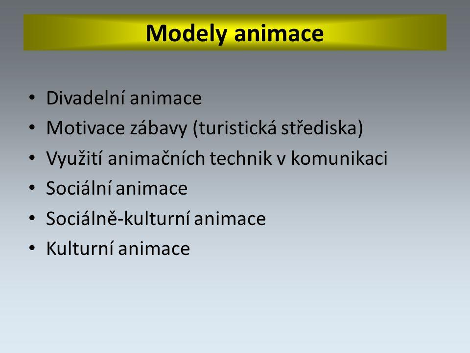 Modely animace Divadelní animace Motivace zábavy (turistická střediska) Využití animačních technik v komunikaci Sociální animace Sociálně-kulturní animace Kulturní animace