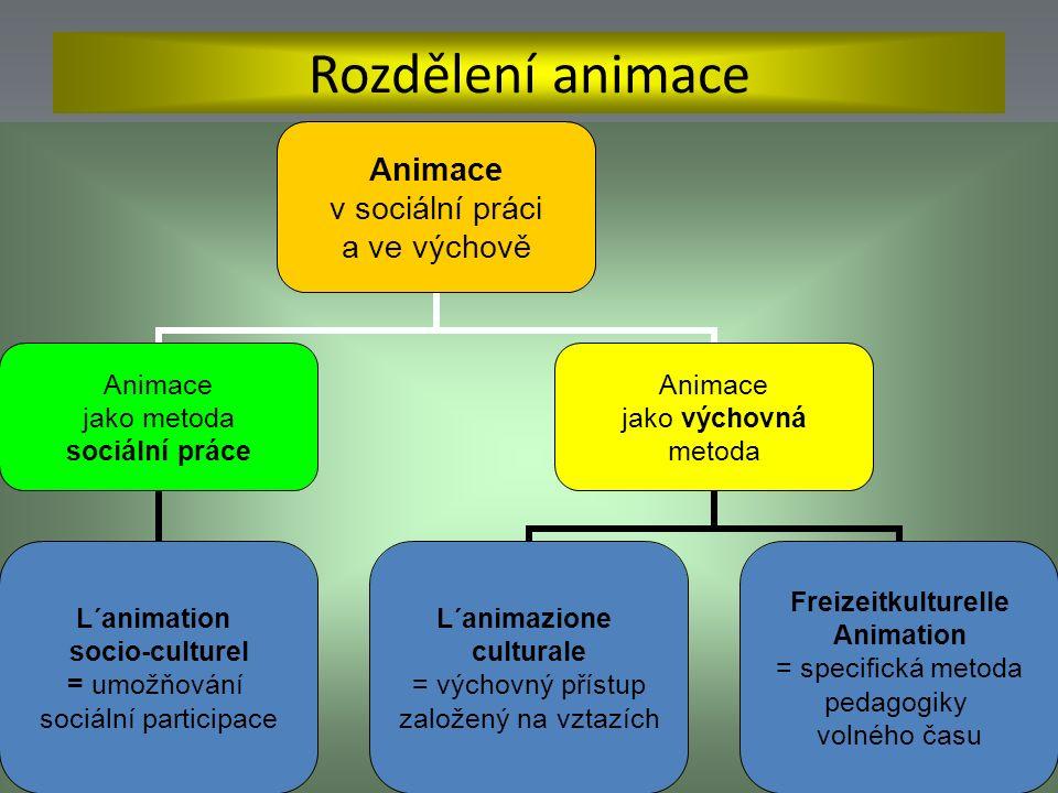 Rozdělení animace Animace v sociální práci a ve výchově Animace jako metoda sociální práce L´animation socio-culturel = umožňování sociální participace Animace jako výchovná metoda L´animazione culturale = výchovný přístup založený na vztazích Freizeitkulturelle Animation = specifická metoda pedagogiky volného času