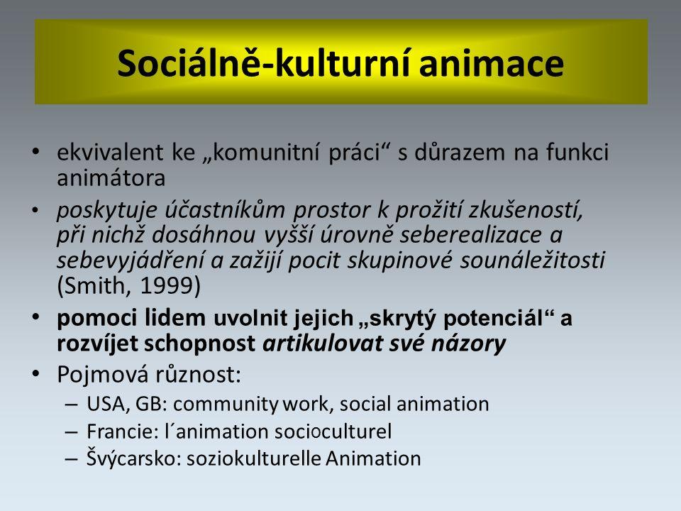 """ekvivalent ke """"komunitní práci s důrazem na funkci animátora p oskytuje účastníkům prostor k prožití zkušeností, při nichž dosáhnou vyšší úrovně seberealizace a sebevyjádření a zažijí pocit skupinové sounáležitosti (Smith, 1999) pomoci lidem uvolnit jejich """"skrytý potenciál a rozvíjet schopnost artikulovat své názory Pojmová různost: – USA, GB: community work, social animation – Francie: l´animation soci o culturel – Švýcarsko: soziokulturelle Animation"""