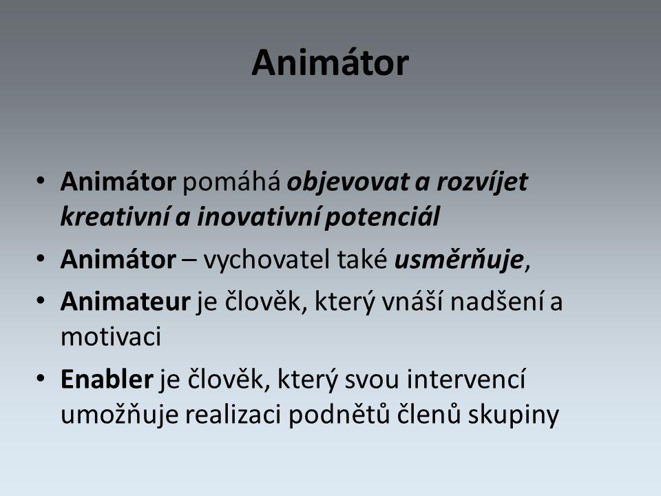 Animátor Animátor pomáhá objevovat a rozvíjet kreativní a inovativní potenciál Animátor – vychovatel také usměrňuje, Animateur je člověk, který vnáší nadšení a motivaci Enabler je člověk, který svou intervencí umožňuje realizaci podnětů členů skupiny