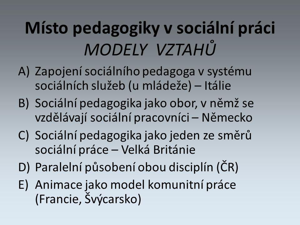 Místo pedagogiky v sociální práci MODELY VZTAHŮ A)Zapojení sociálního pedagoga v systému sociálních služeb (u mládeže) – Itálie B)Sociální pedagogika jako obor, v němž se vzdělávají sociální pracovníci – Německo C)Sociální pedagogika jako jeden ze směrů sociální práce – Velká Británie D)Paralelní působení obou disciplín (ČR) E)Animace jako model komunitní práce (Francie, Švýcarsko)