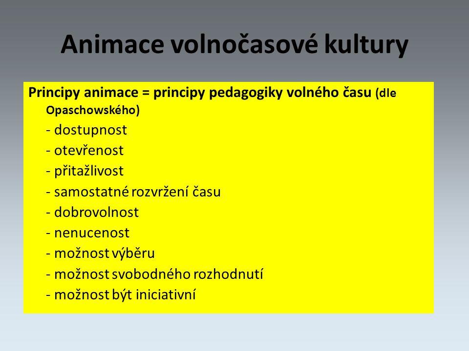 Animace volnočasové kultury Principy animace = principy pedagogiky volného času (dle Opaschowského) - dostupnost - otevřenost - přitažlivost - samostatné rozvržení času - dobrovolnost - nenucenost - možnost výběru - možnost svobodného rozhodnutí - možnost být iniciativní