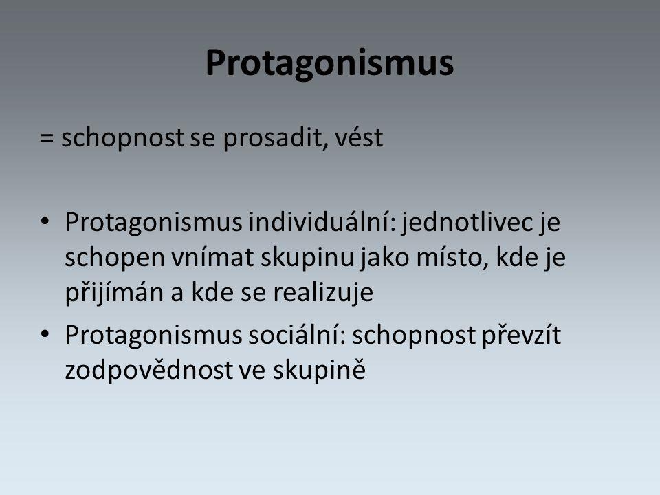 Protagonismus = schopnost se prosadit, vést Protagonismus individuální: jednotlivec je schopen vnímat skupinu jako místo, kde je přijímán a kde se realizuje Protagonismus sociální: schopnost převzít zodpovědnost ve skupině