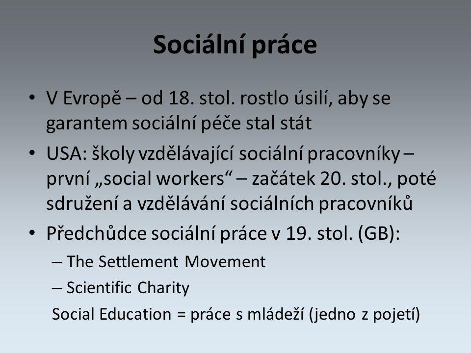 Sociální práce V Evropě – od 18. stol.
