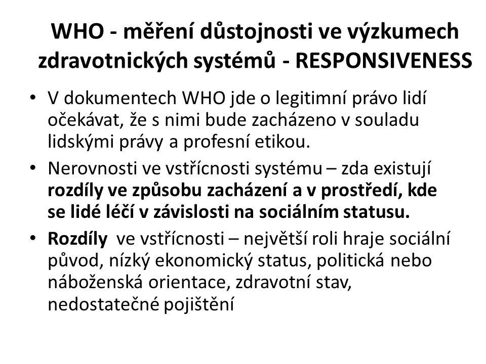 WHO - měření důstojnosti ve výzkumech zdravotnických systémů - RESPONSIVENESS V dokumentech WHO jde o legitimní právo lidí očekávat, že s nimi bude zacházeno v souladu lidskými právy a profesní etikou.