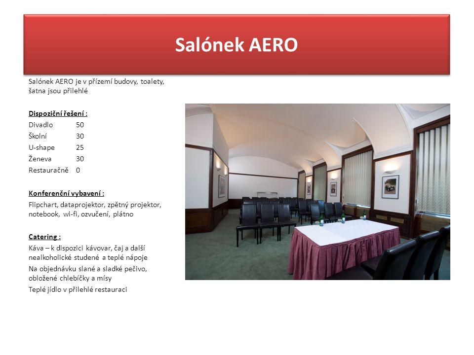 Salónek AERO Salónek AERO je v přízemí budovy, toalety, šatna jsou přilehlé Dispoziční řešení : Divadlo50 Školní30 U-shape25 Ženeva30 Restauračně0 Kon