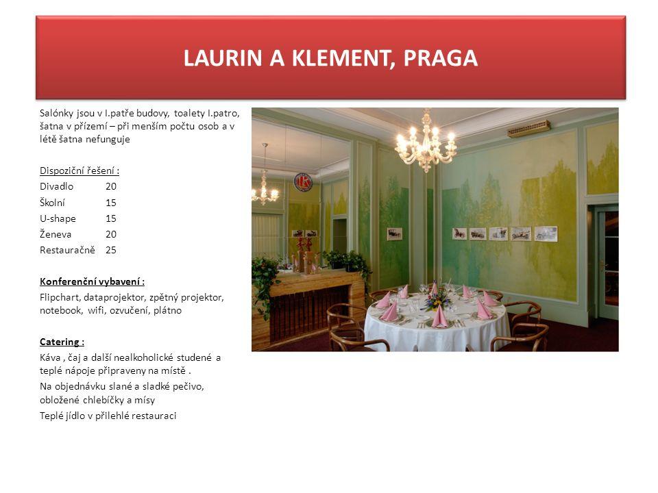 LAURIN A KLEMENT, PRAGA Salónky jsou v I.patře budovy, toalety I.patro, šatna v přízemí – při menším počtu osob a v létě šatna nefunguje Dispoziční ře