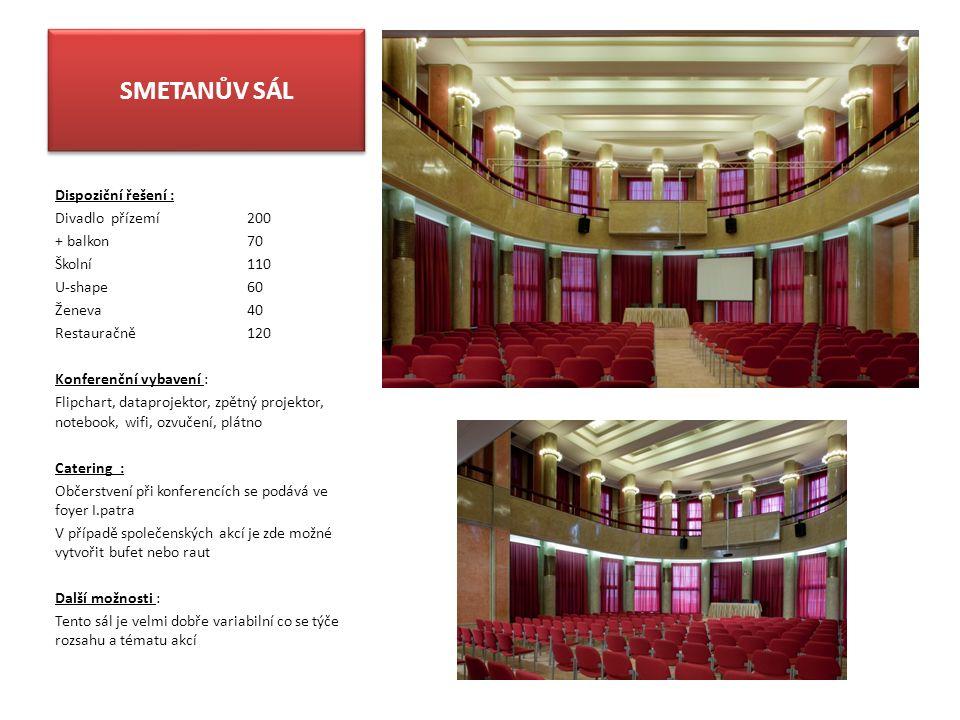 SMETANŮV SÁL Dispoziční řešení : Divadlo přízemí200 + balkon 70 Školní110 U-shape60 Ženeva40 Restauračně120 Konferenční vybavení : Flipchart, dataproj