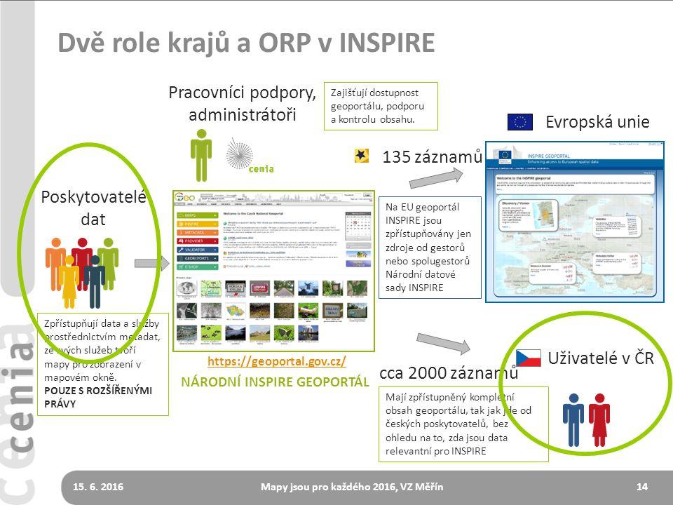 14 Dvě role krajů a ORP v INSPIRE Pracovníci podpory, administrátoři Poskytovatelé dat Uživatelé v ČR Evropská unie 135 záznamů https://geoportal.gov.cz/ cca 2000 záznamů NÁRODNÍ INSPIRE GEOPORTÁL Zpřístupňují data a služby prostřednictvím metadat, ze svých služeb tvoří mapy pro zobrazení v mapovém okně.