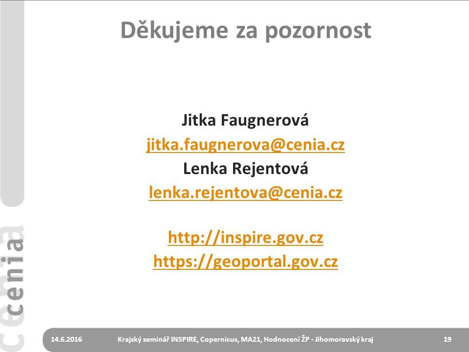 1914.6.2016Krajský seminář INSPIRE, Copernicus, MA21, Hodnocení ŽP - Jihomoravský kraj Děkujeme za pozornost Jitka Faugnerová jitka.faugnerova@cenia.c