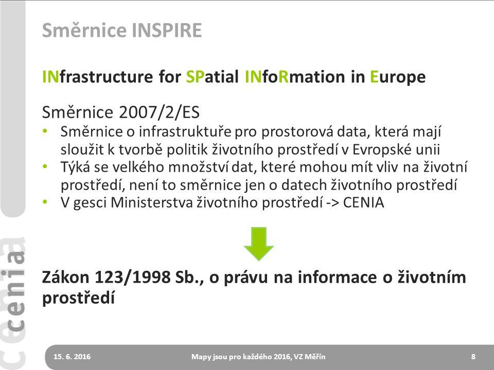 Směrnice INSPIRE INfrastructure for SPatial INfoRmation in Europe Směrnice 2007/2/ES Směrnice o infrastruktuře pro prostorová data, která mají sloužit k tvorbě politik životního prostředí v Evropské unii Týká se velkého množství dat, které mohou mít vliv na životní prostředí, není to směrnice jen o datech životního prostředí V gesci Ministerstva životního prostředí -> CENIA Zákon 123/1998 Sb., o právu na informace o životním prostředí 815.