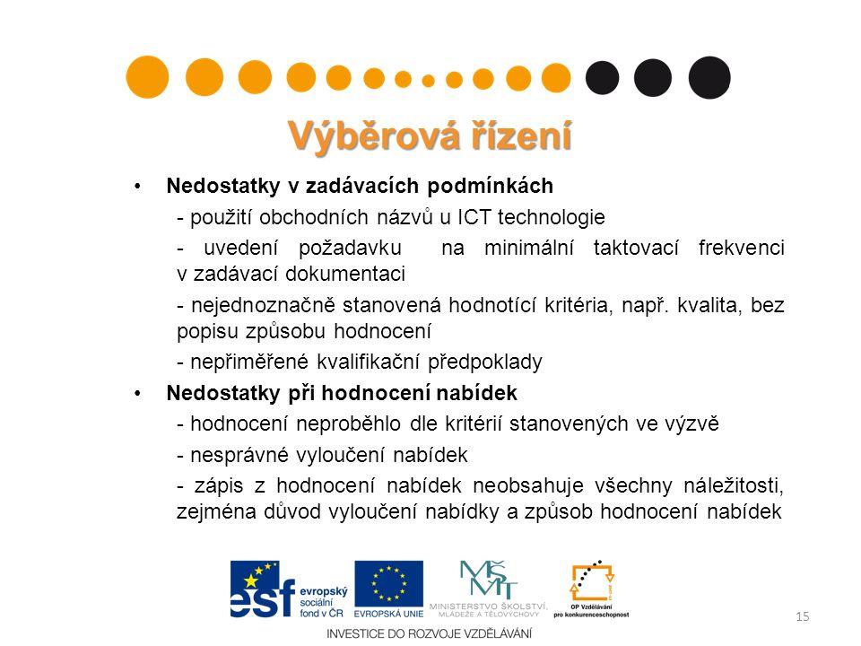 Výběrová řízení Nedostatky v zadávacích podmínkách - použití obchodních názvů u ICT technologie - uvedení požadavku na minimální taktovací frekvenci v