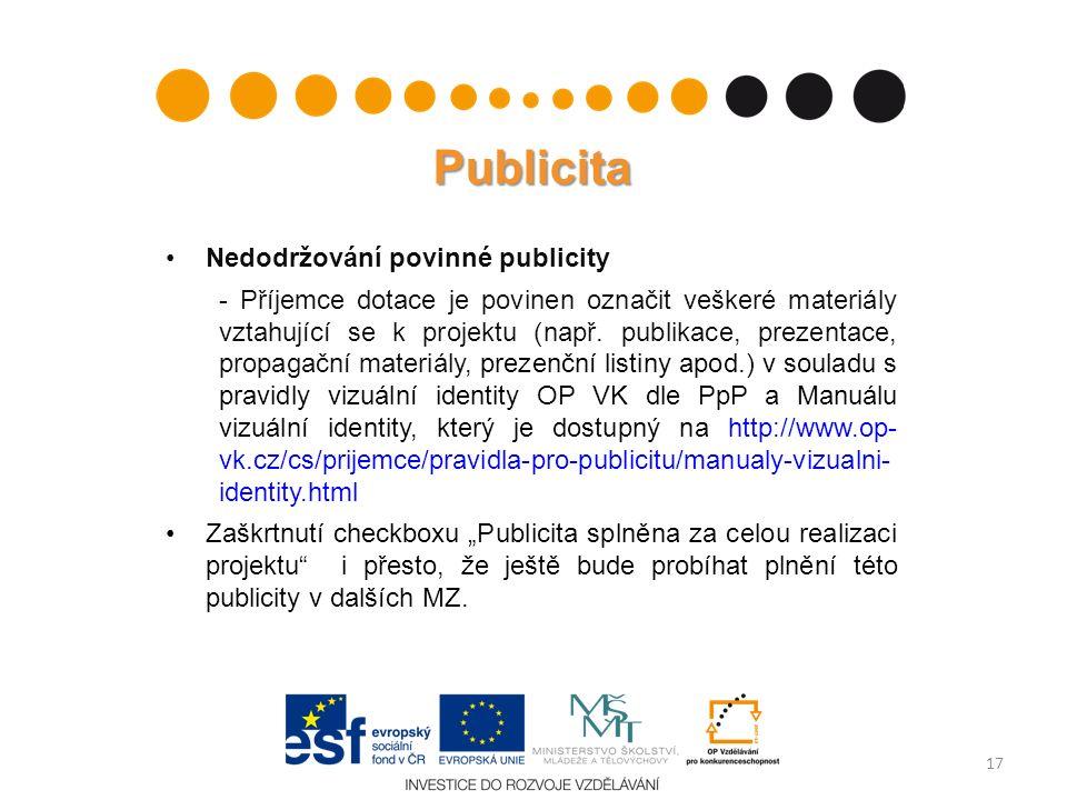 Publicita Nedodržování povinné publicity - Příjemce dotace je povinen označit veškeré materiály vztahující se k projektu (např. publikace, prezentace,