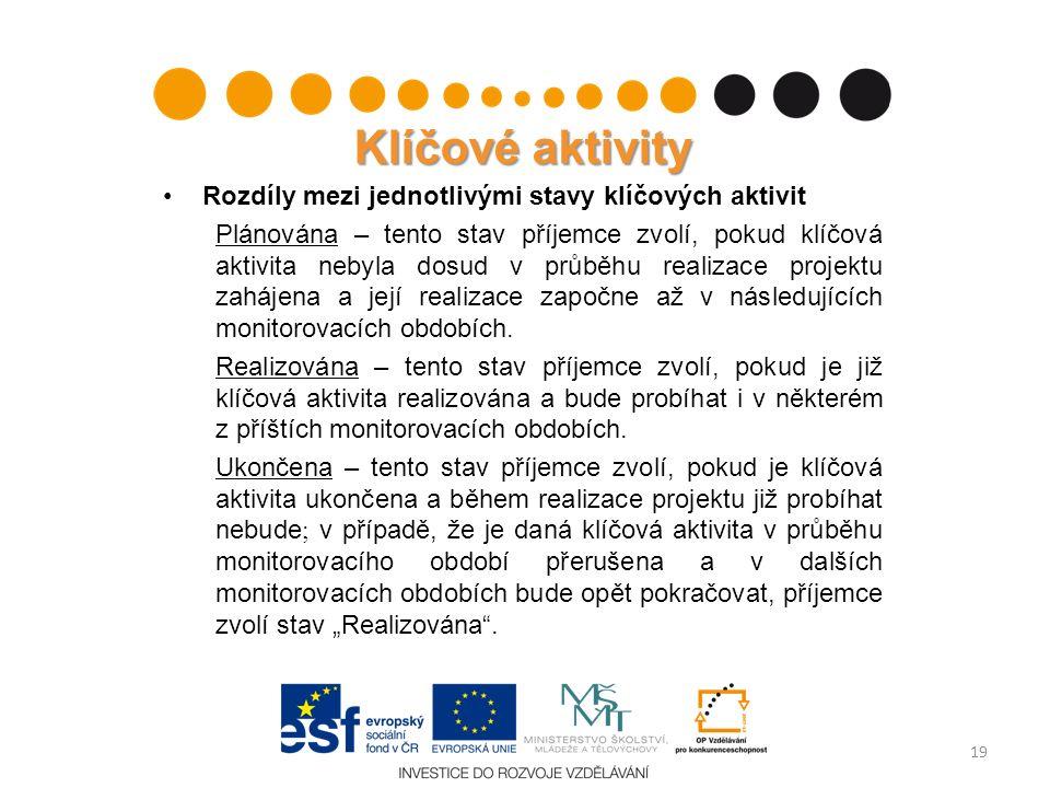 Klíčové aktivity Rozdíly mezi jednotlivými stavy klíčových aktivit Plánována – tento stav příjemce zvolí, pokud klíčová aktivita nebyla dosud v průběh