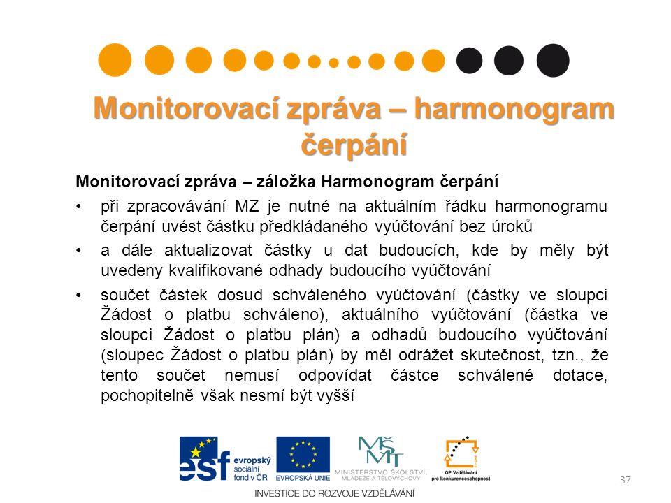 Monitorovací zpráva – harmonogram čerpání Monitorovací zpráva – záložka Harmonogram čerpání při zpracovávání MZ je nutné na aktuálním řádku harmonogra