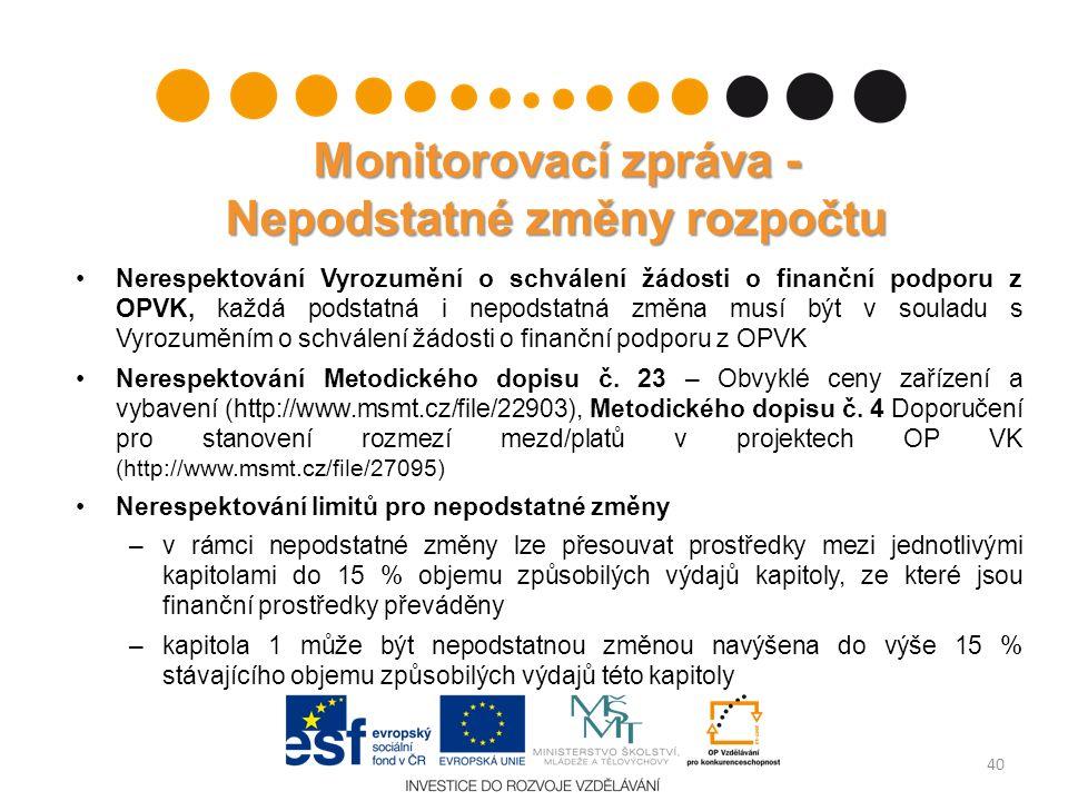 Monitorovací zpráva - Nepodstatné změny rozpočtu Nerespektování Vyrozumění o schválení žádosti o finanční podporu z OPVK, každá podstatná i nepodstatn