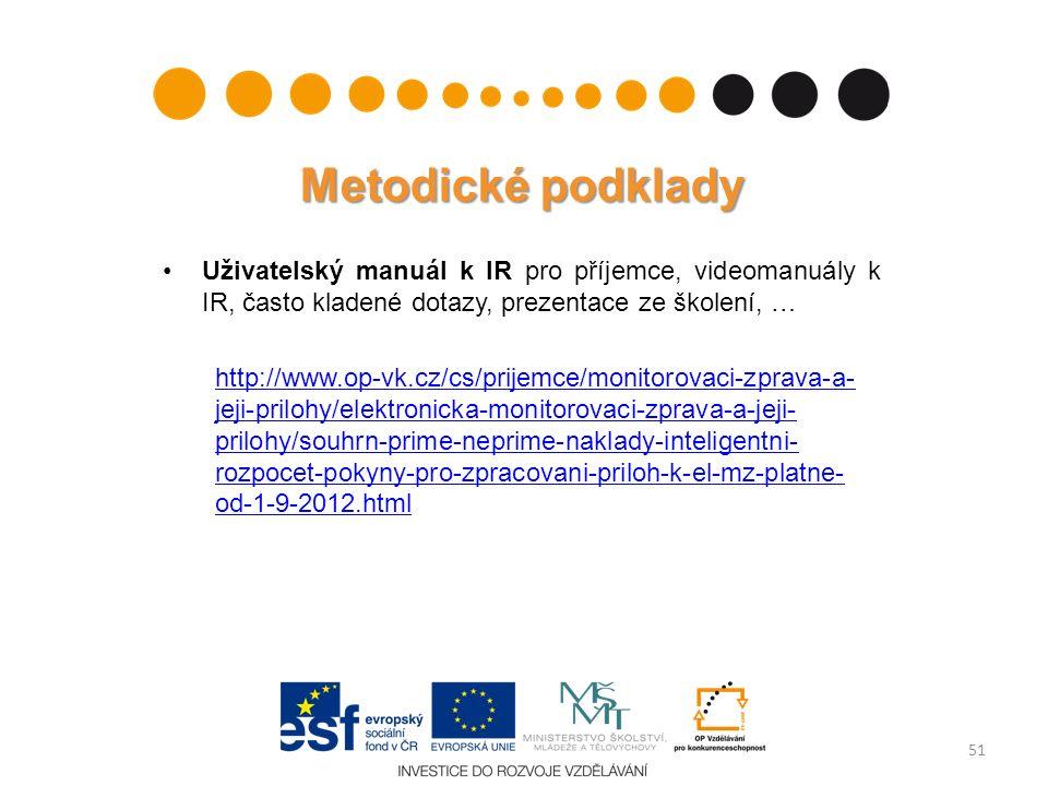 Metodické podklady Uživatelský manuál k IR pro příjemce, videomanuály k IR, často kladené dotazy, prezentace ze školení, … http://www.op-vk.cz/cs/prij