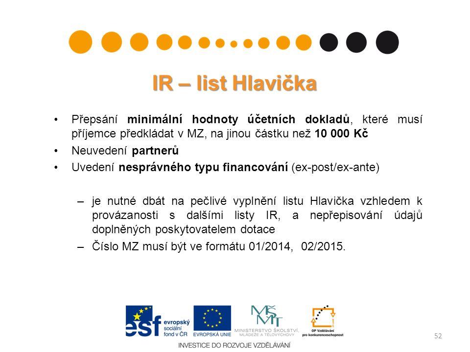 IR – list Hlavička Přepsání minimální hodnoty účetních dokladů, které musí příjemce předkládat v MZ, na jinou částku než 10 000 Kč Neuvedení partnerů