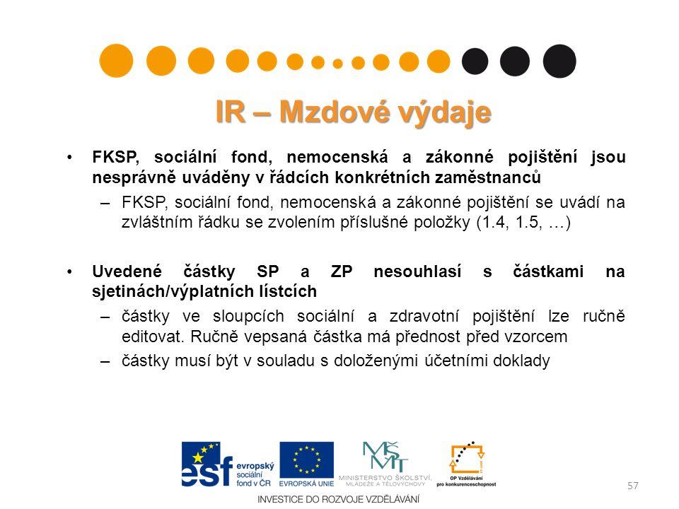 IR – Mzdové výdaje FKSP, sociální fond, nemocenská a zákonné pojištění jsou nesprávně uváděny v řádcích konkrétních zaměstnanců –FKSP, sociální fond,