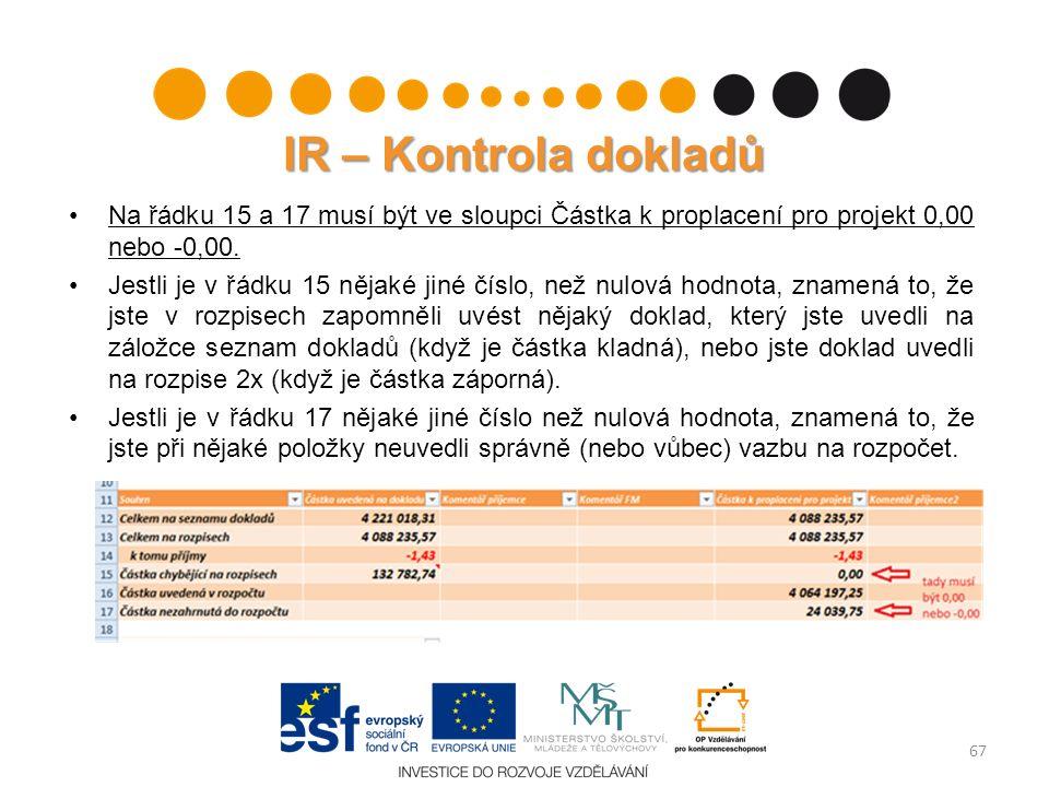 IR – Kontrola dokladů Na řádku 15 a 17 musí být ve sloupci Částka k proplacení pro projekt 0,00 nebo -0,00. Jestli je v řádku 15 nějaké jiné číslo, ne