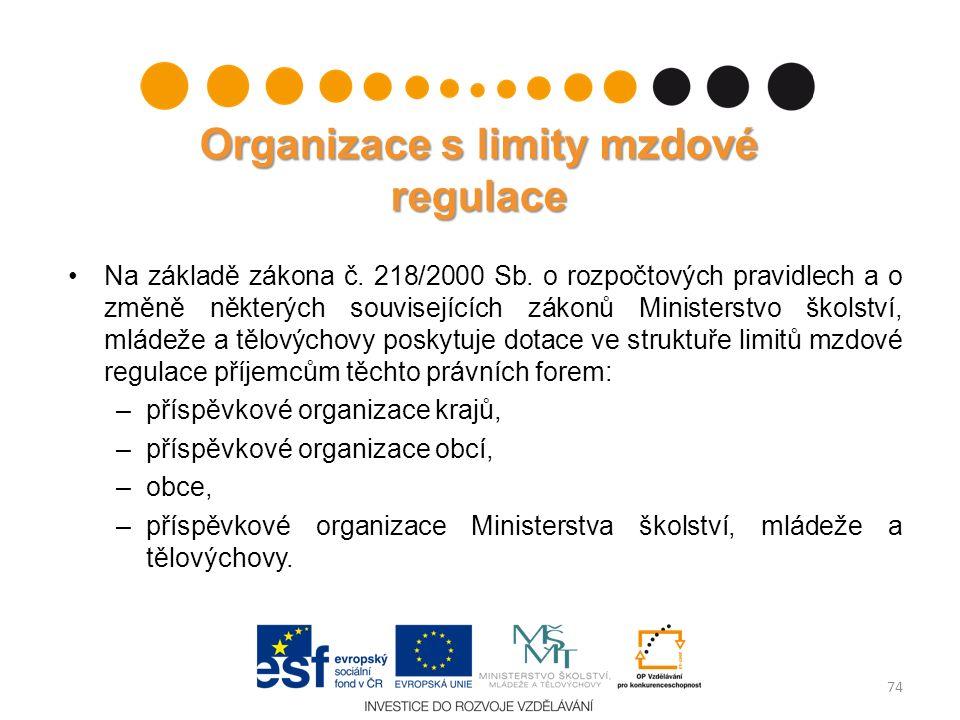 Organizace s limity mzdové regulace Na základě zákona č. 218/2000 Sb. o rozpočtových pravidlech a o změně některých souvisejících zákonů Ministerstvo