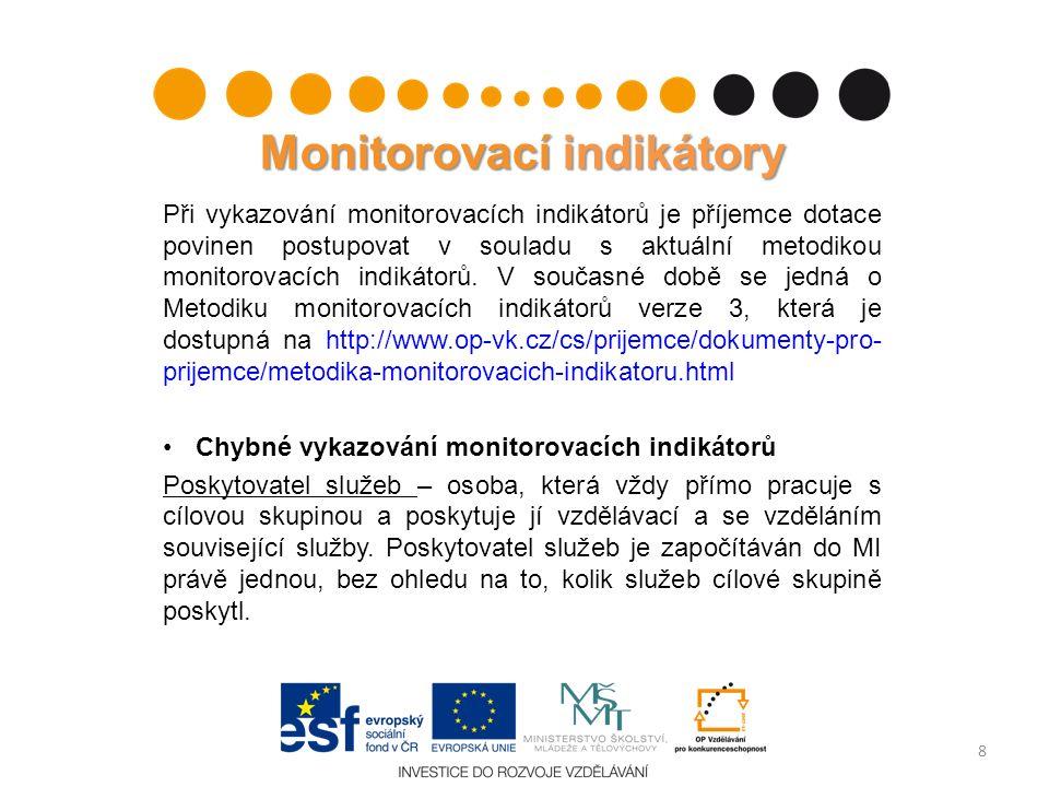 Monitorovací indikátory Při vykazování monitorovacích indikátorů je příjemce dotace povinen postupovat v souladu s aktuální metodikou monitorovacích i