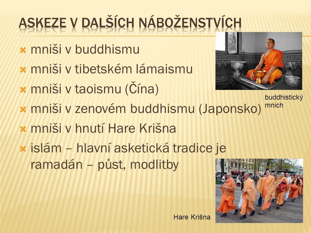  mniši v buddhismu  mniši v tibetském lámaismu  mniši v taoismu (Čína)  mniši v zenovém buddhismu (Japonsko)  mniši v hnutí Hare Krišna  islám – hlavní asketická tradice je ramadán – půst, modlitby buddhistický mnich Hare Krišna