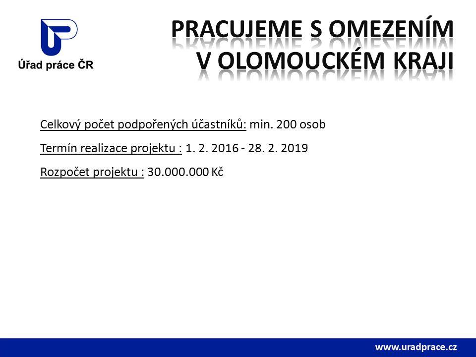 Celkový počet podpořených účastníků: min. 200 osob Termín realizace projektu : 1.