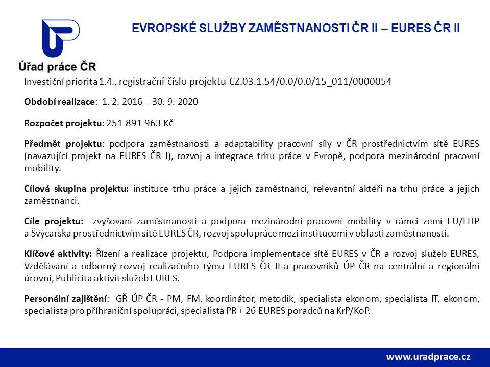 Investiční priorita 1.4., registrační číslo projektu CZ.03.1.54/0.0/0.0/15_011/0000054 Období realizace: 1.