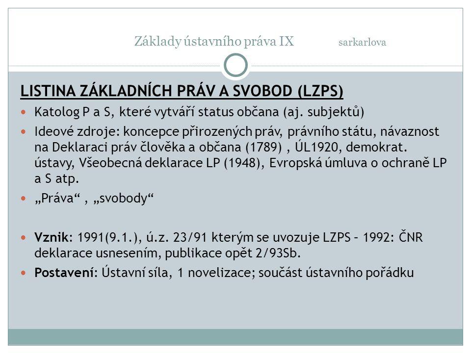 Základy ústavního práva IX sarkarlova LISTINA ZÁKLADNÍCH PRÁV A SVOBOD (LZPS) Katolog P a S, které vytváří status občana (aj. subjektů) Ideové zdroje: