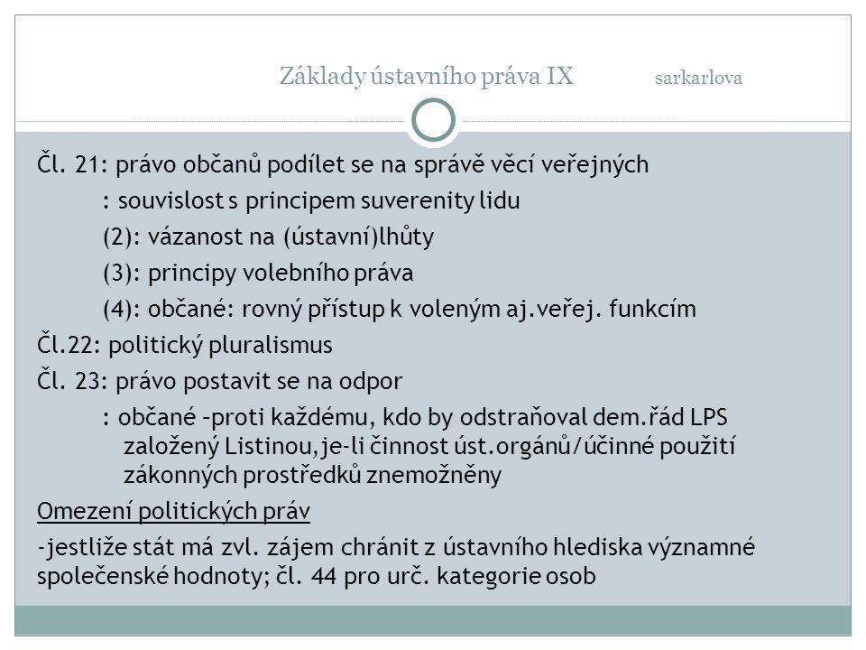 Základy ústavního práva IX sarkarlova Čl.