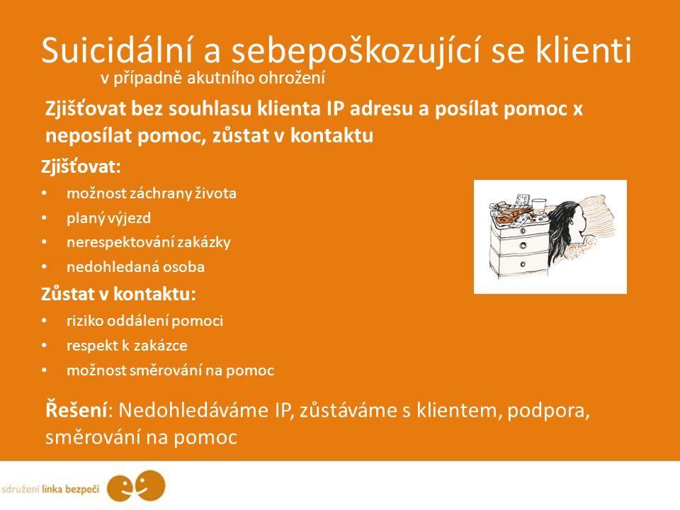 Suicidální a sebepoškozující se klienti v případně akutního ohrožení Zjišťovat bez souhlasu klienta IP adresu a posílat pomoc x neposílat pomoc, zůsta