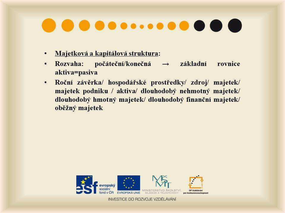 Oceňování podniku a jeho majetku Kategorie hodnoty: 1.