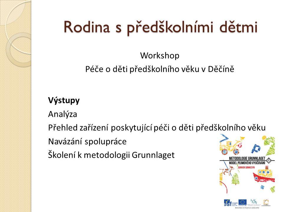 Rodina s předškolními dětmi Workshop Péče o děti předškolního věku v Děčíně Výstupy Analýza Přehled zařízení poskytující péči o děti předškolního věku