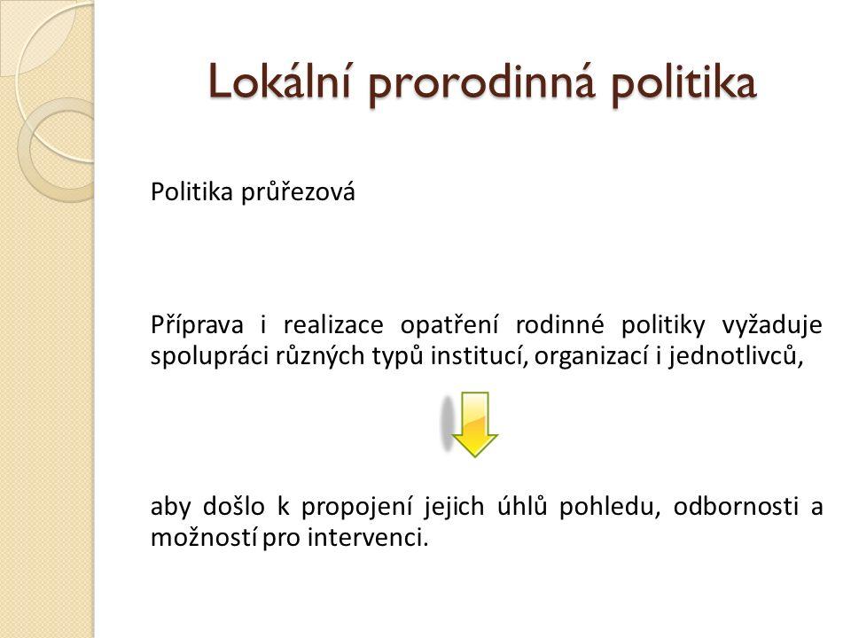 Lokální prorodinná politika Politika průřezová Příprava i realizace opatření rodinné politiky vyžaduje spolupráci různých typů institucí, organizací i