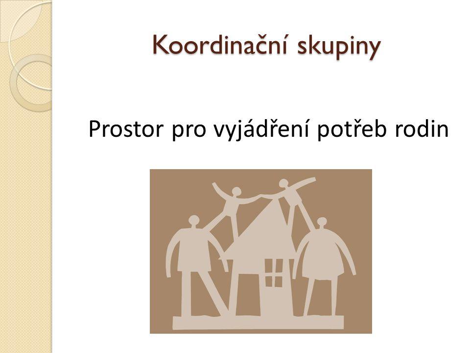 Koordinační skupiny Pravidelné setkávání organizací Předávání informací Prezentace organizací a jejich činnosti Vzájemná spolupráce, koordinace Řešení aktuálních problémů