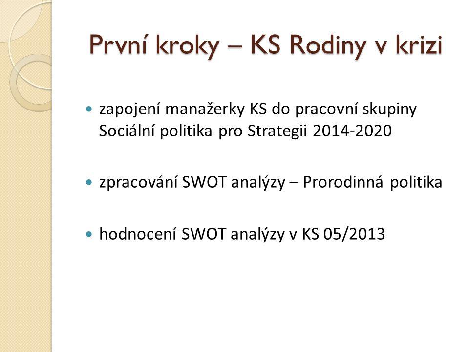 První kroky – KS Rodiny v krizi zapojení manažerky KS do pracovní skupiny Sociální politika pro Strategii 2014-2020 zpracování SWOT analýzy – Prorodin