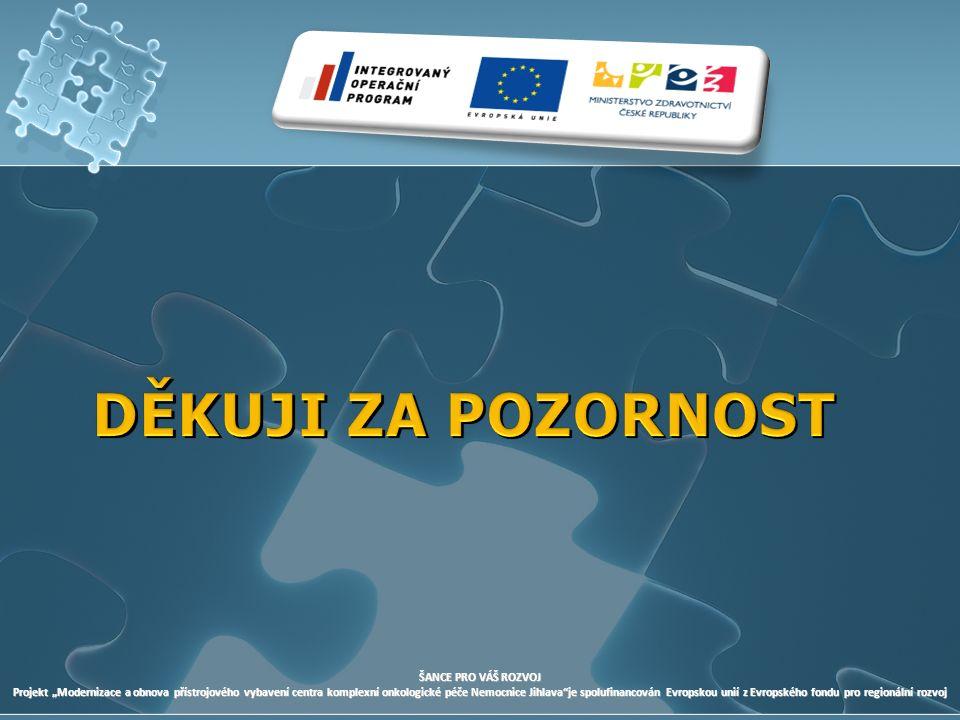 """ŠANCE PRO VÁŠ ROZVOJ Projekt """"Modernizace a obnova přístrojového vybavení centra komplexní onkologické péče Nemocnice Jihlava je spolufinancován Evropskou unií z Evropského fondu pro regionální rozvoj"""